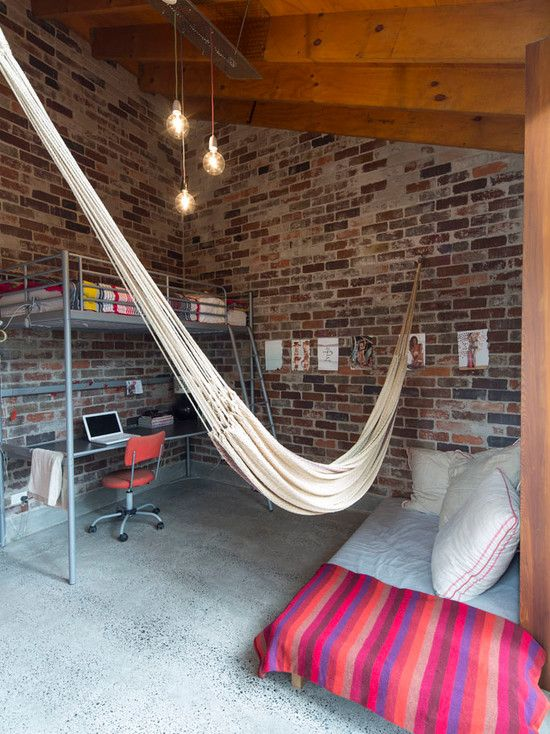 Industrial Bedroom With Exciting Bedroom Hammock Also Bricks Wall Design  Also Modern Bunk Bed Combine