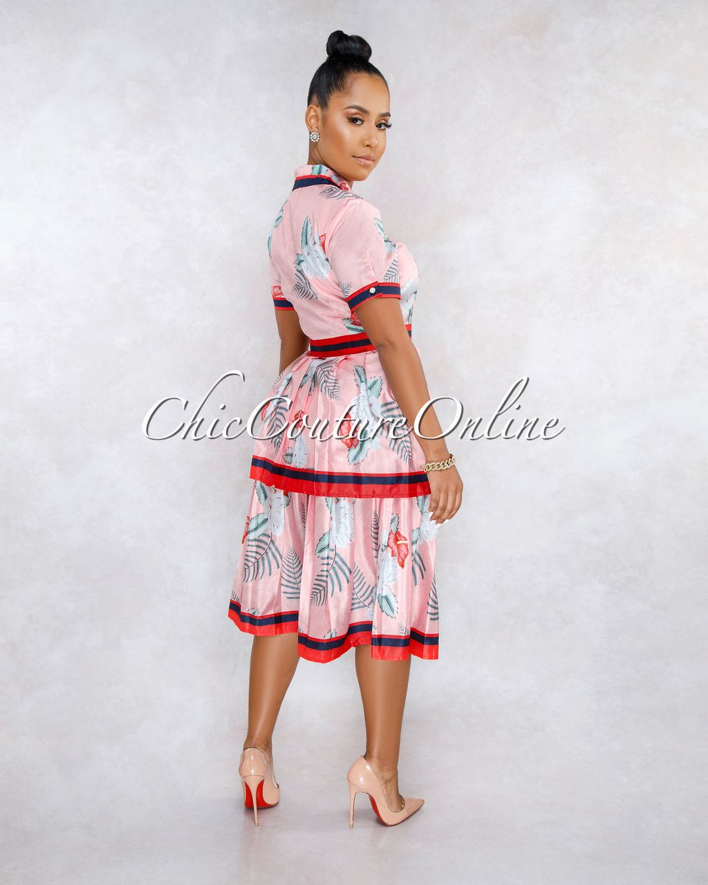 7c3f57c5136 Chic Couture Online - Leonie Pink Floral Print Pleated Tier Skirt Midi Dress