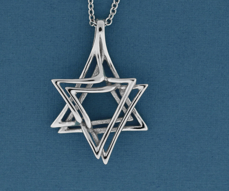 White Gold Jewish Star Pendant 14K Gold Star of David Bat Mitzvah