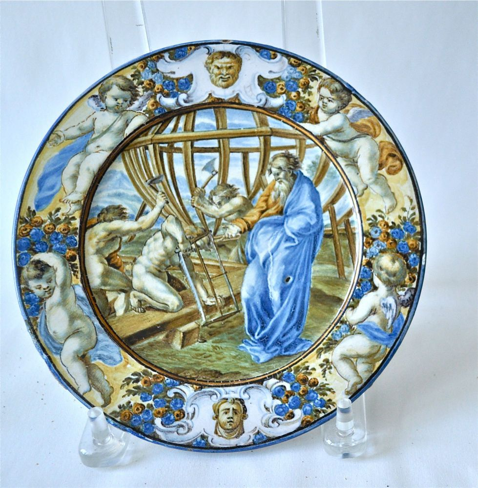 """Ceramiche Musa Hand Painted Floor And Tiles Made In Italy: 18th C CASTELLI CERAMIC PLATE """"Noah And Building Of The"""