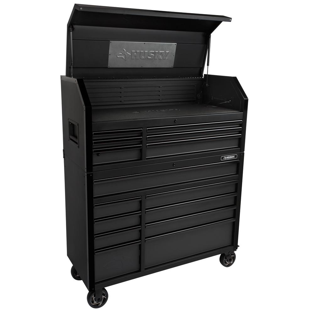 Husky Industrial 52 In W X 21 5 In D 15 Drawer Tool Chest And Rolling Cabinet Combo With Led Light In Matte Black H52ch6tr9hdv3 The Home Depot Tool Chest Drawers Matte Black