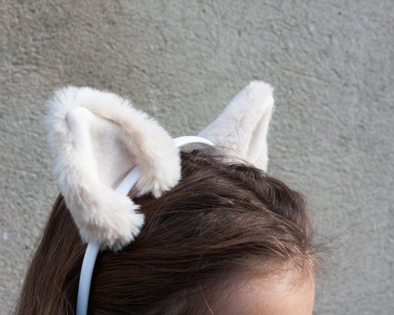 Arctic Wolf Ears And Tail Set White//Grey Luxury Fancy Dress Animal Set One Size