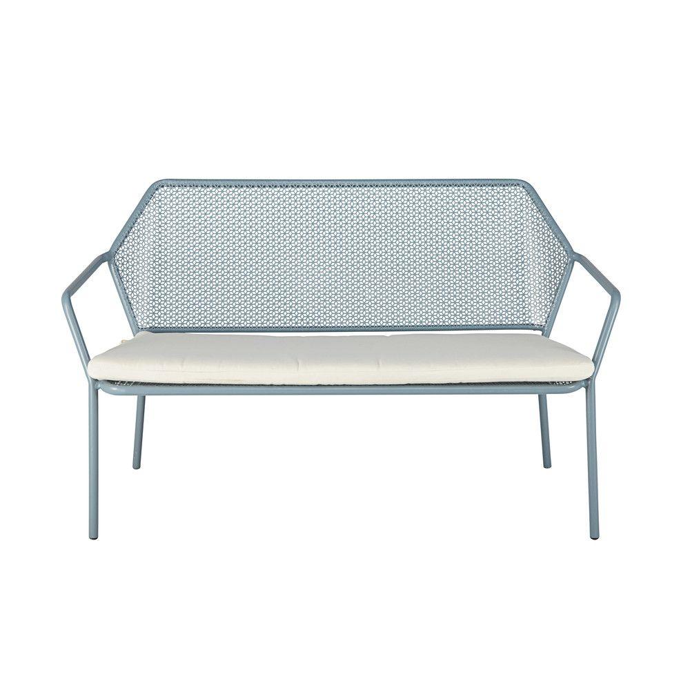 Banquette de jardin 2/3 places en métal bleu clair et coussin blanc ...