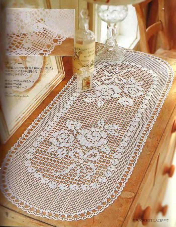 Crochet Knitting Handicraft: Rose Runner | Doilies♡Advanced ...