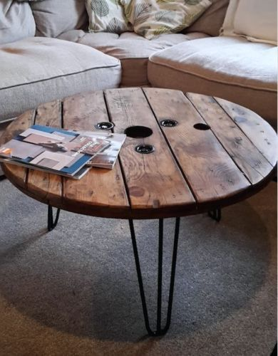 Upcycled Cable Reel Coffee Table With Hair Pin Legs 79cm