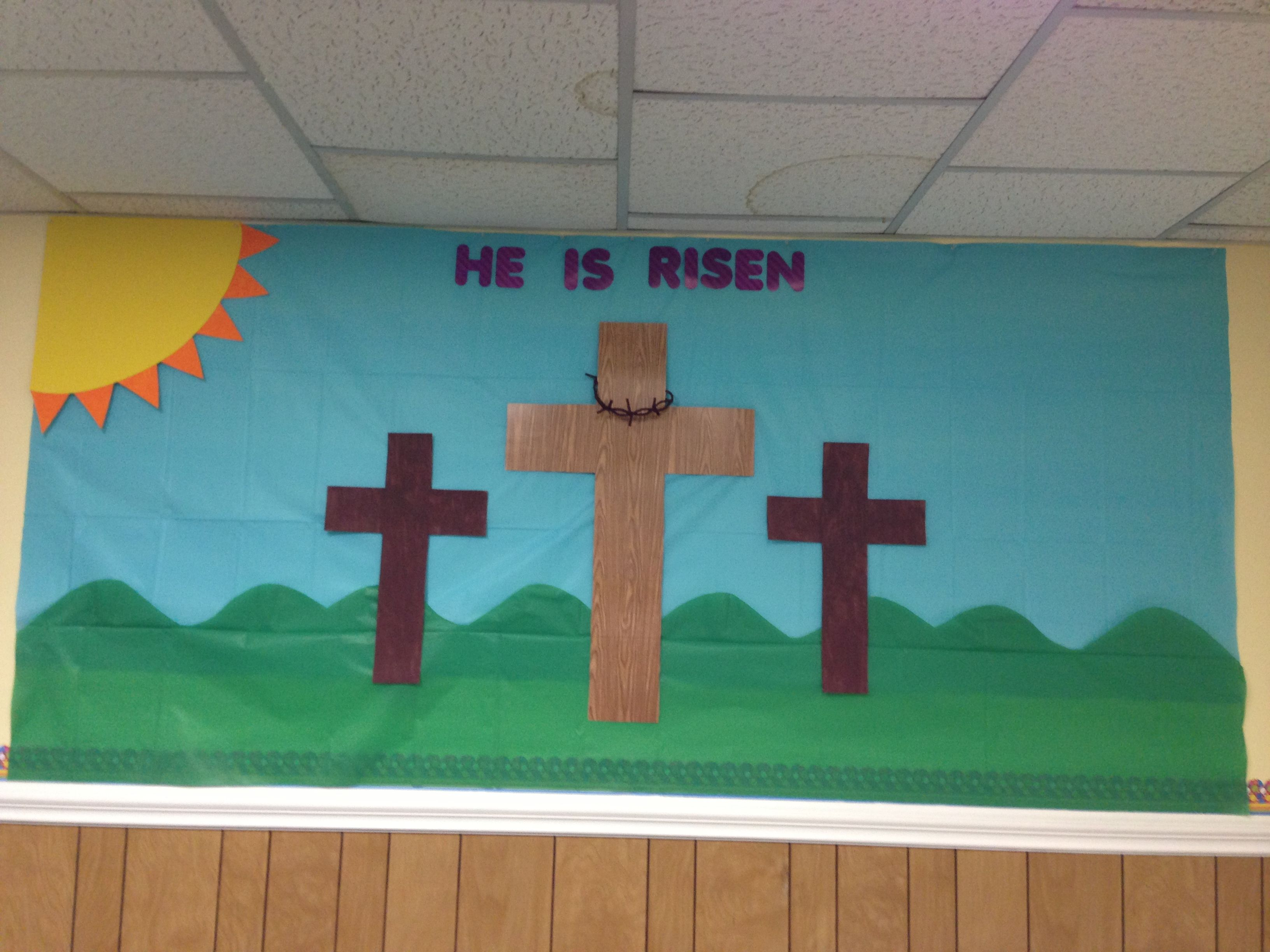 Christian easter bulletin board ideas - Easter Bulletin Board Sunday School I Used Table Cloth For The Sky And Grass And Made