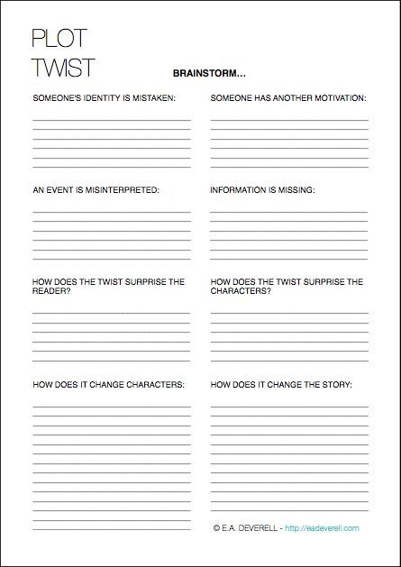Plot Twists (Writing Worksheet Wednesday) Writing worksheets - story outline template