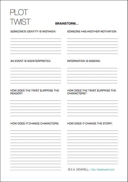 Writing Worksheet Wednesday: Plot Twists | e.a. deverell: creative ...