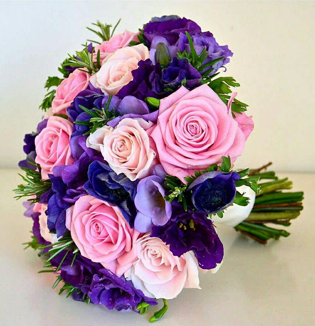 Pastel pink roses pink roses lavender freesia blue violet purple flower bouquet graceful bouquet of flowers izmirmasajfo Choice Image
