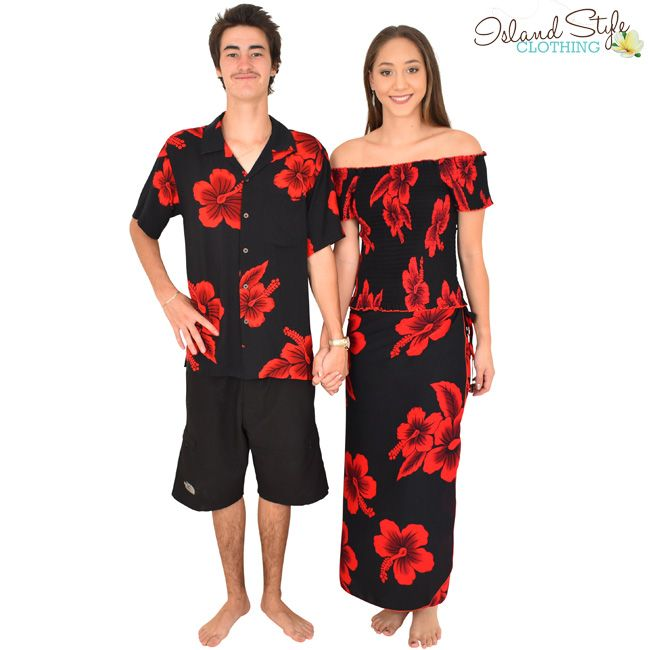 01452376a8 Beautiful Couples Matching Hawaiian Set - Mens Shirt and Ladies 2 piece  set. Black   Red Hibiscus. Perfect outfit for a cruise