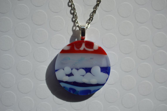 FUSED GLASS PENDANT - Patriotic Pendant - Glass Jewelry - Glass Necklace - Glass Jewelry - 4th of July Pendant