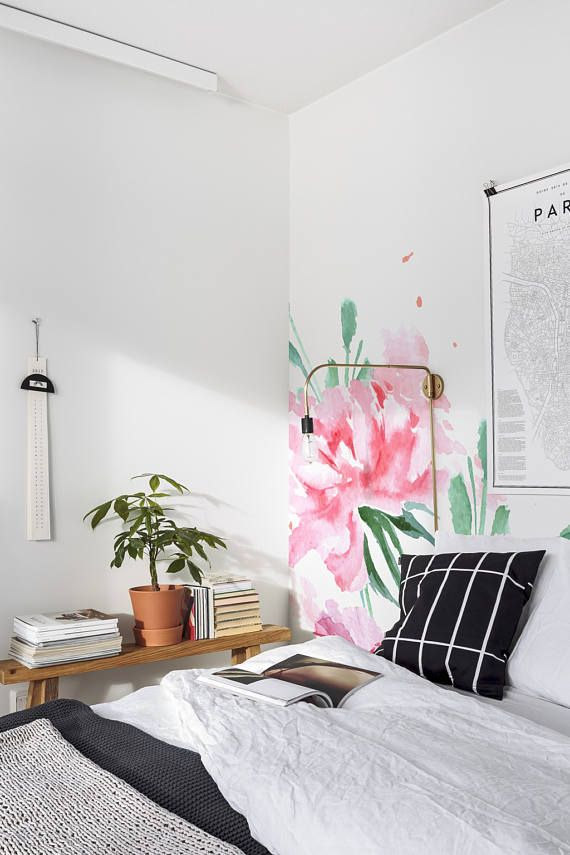 Pink Floral Removable Wallpaper Pink Wall Mural