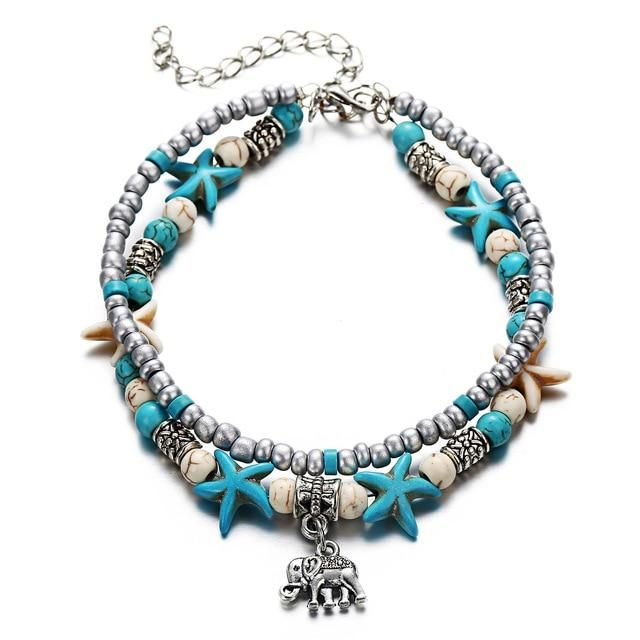 Fashion Double Layer Anklet for Fashionistas. Gift for Best Friend, Wife, Mom, Aunties, Daughters. Anklet Jewelry with Animal Pendants   2 Gallery