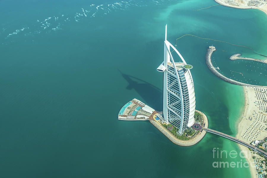Burj al arab from above in dubai photography by