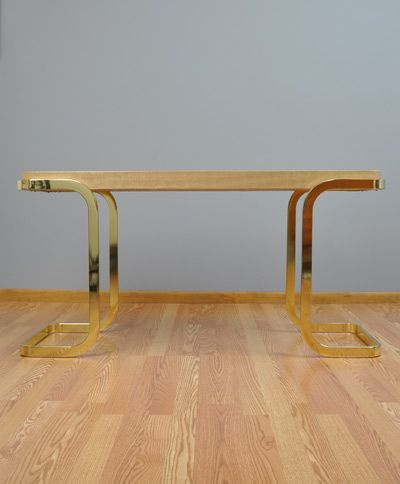 Rara Forma | DIA Modernist Brass Grasscloth Console Table