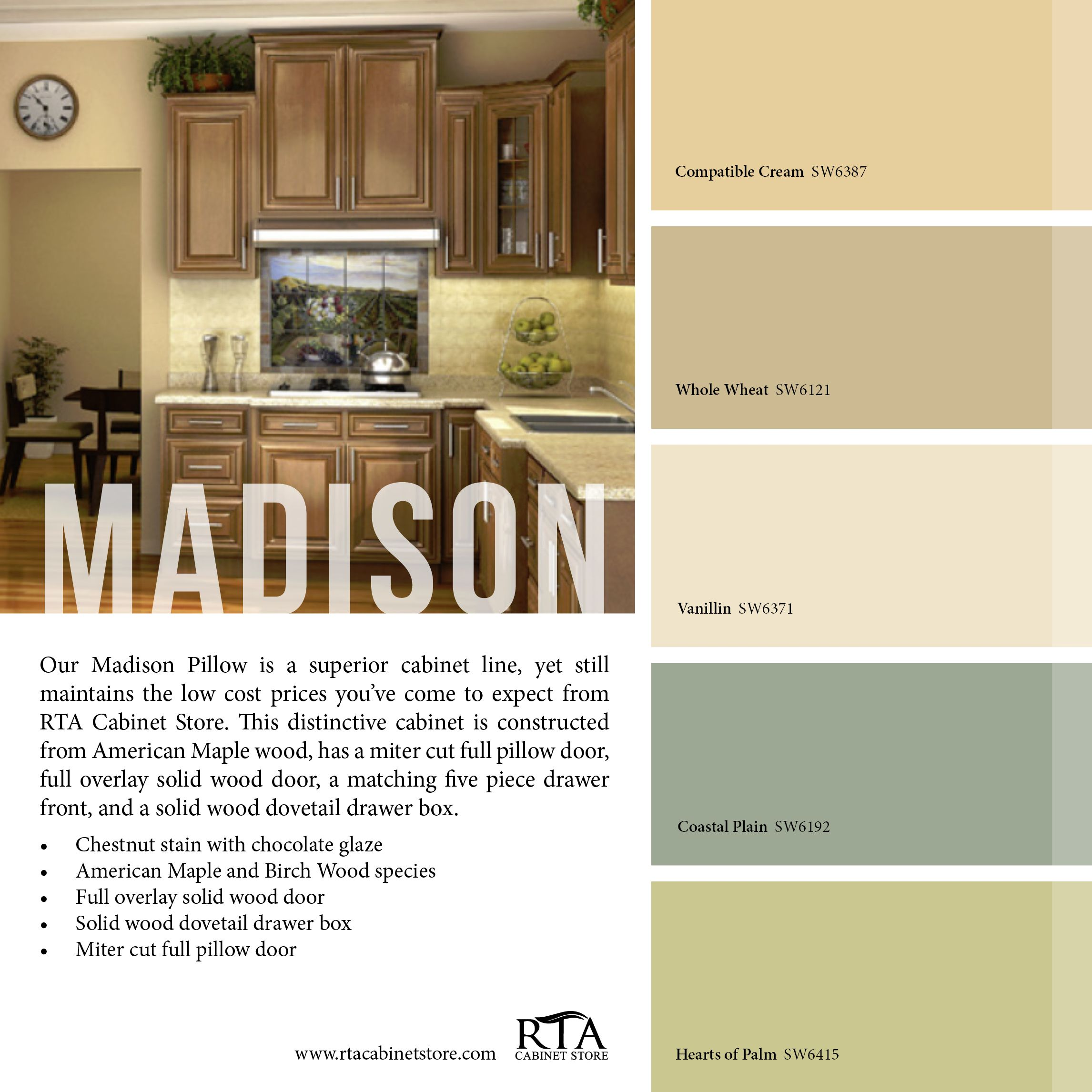 Color palette to go with our madison pillow kitchen cabinet line