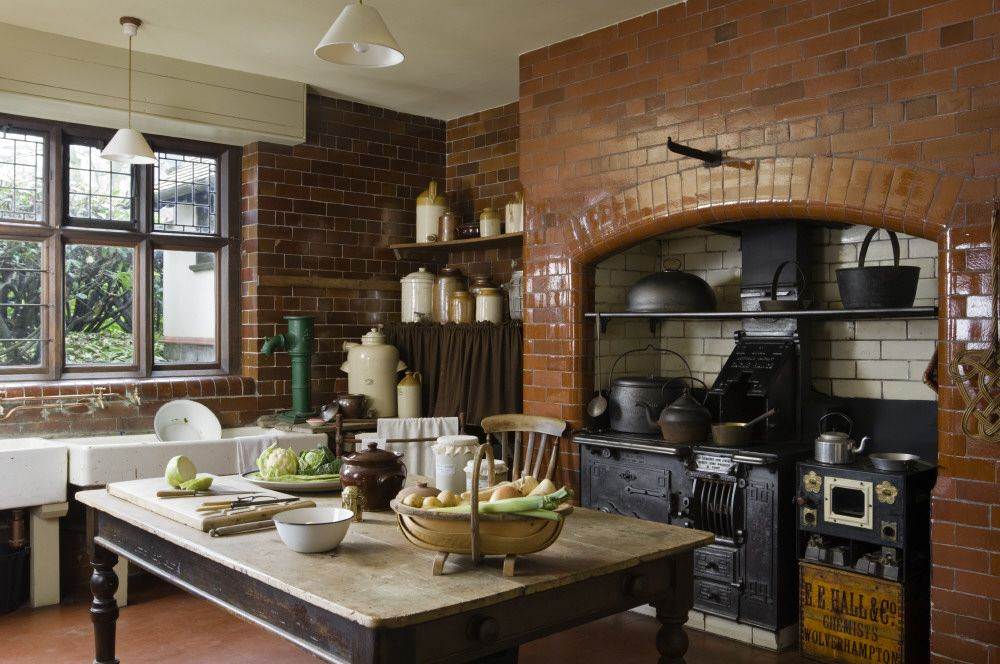 The Scullery With A Large Cooking Range At Wightwick Manor Wolverhampton West Midlands