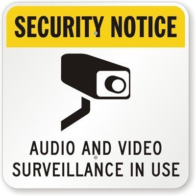 Security Notice Audio And Video Surveillance In Use With Cctv