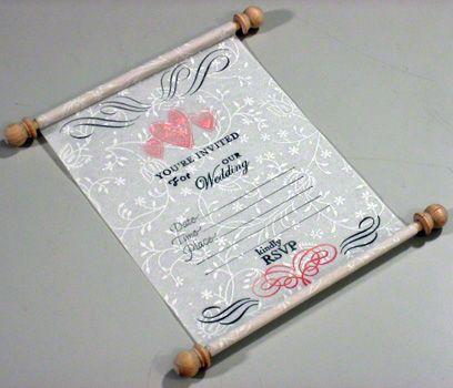 Scroll like white unique wedding invitation card that rolls up – Cute Wedding Invitation Cards