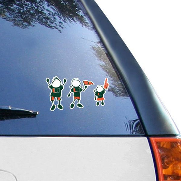 Miami hurricanes 12 x 12 family car decal
