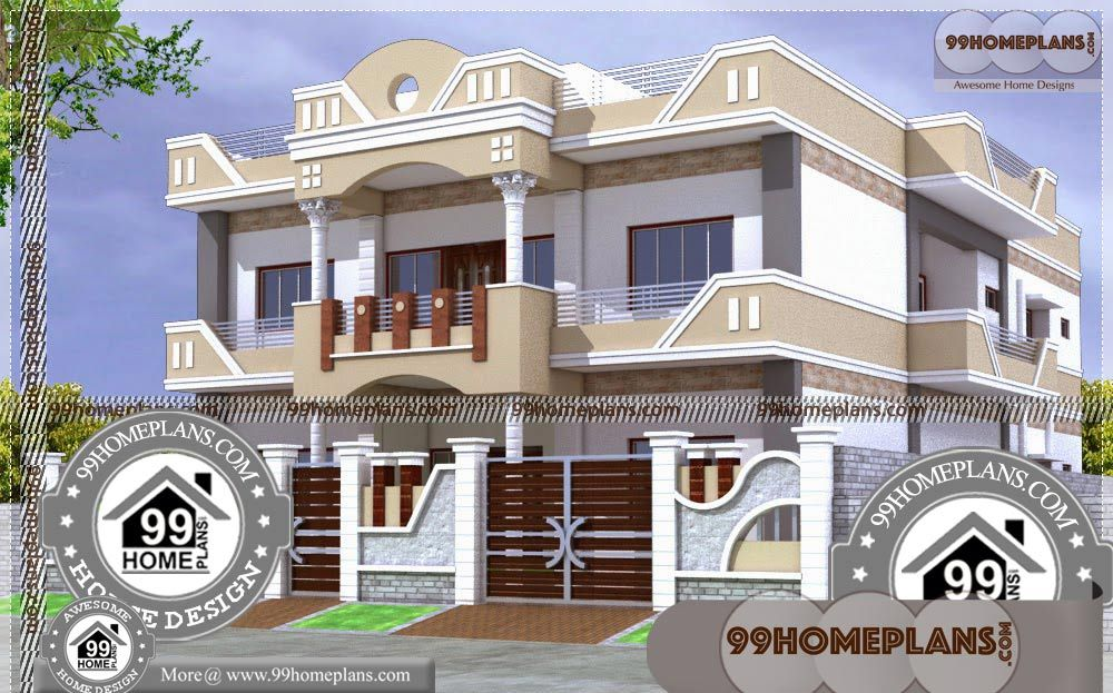 Architecture Plan For House With Double Story House Designs Indian Style Having 2 Floor 5 Total Be House Balcony Design House Arch Design Village House Design