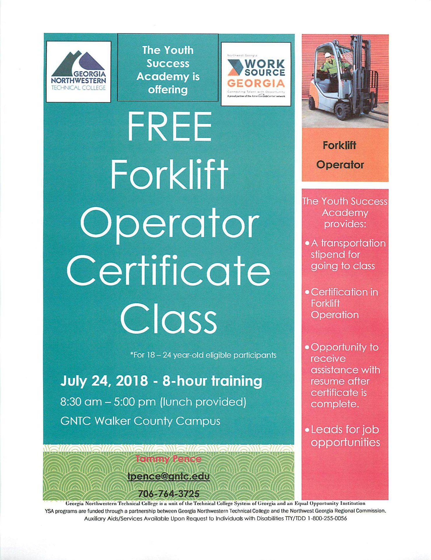 Gntcs Youth Success Academy Is Offering A Free Forklift Operator