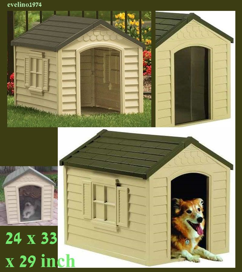 Outdoor Dog House Durable Resin Includes Vinyl Door For Dogs Up