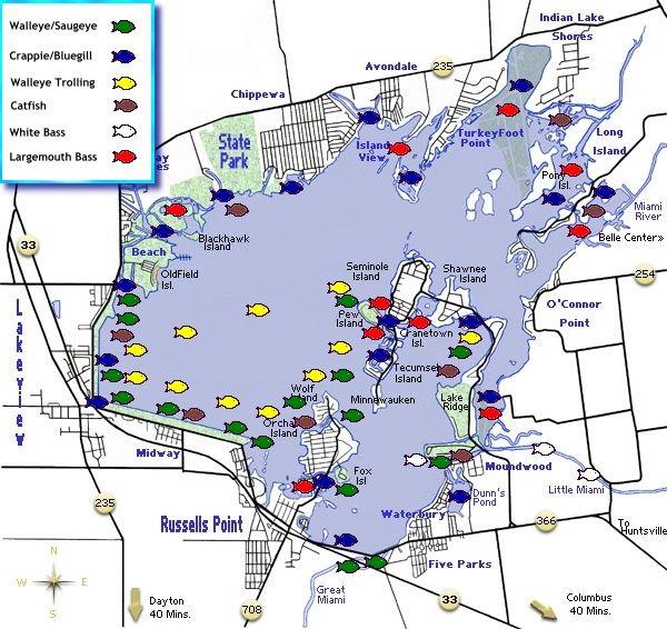 map of indian lake ohio Indian Lake Fishing Map Indian Lake Fishing Maps Lake Fishing map of indian lake ohio