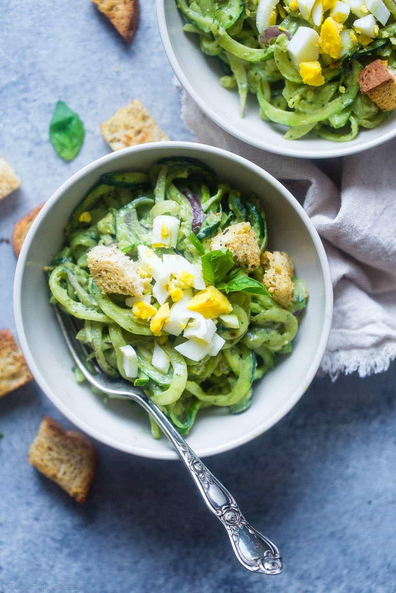 Avocado Pesto Zucchini Noodle Pasta Salad This gluten