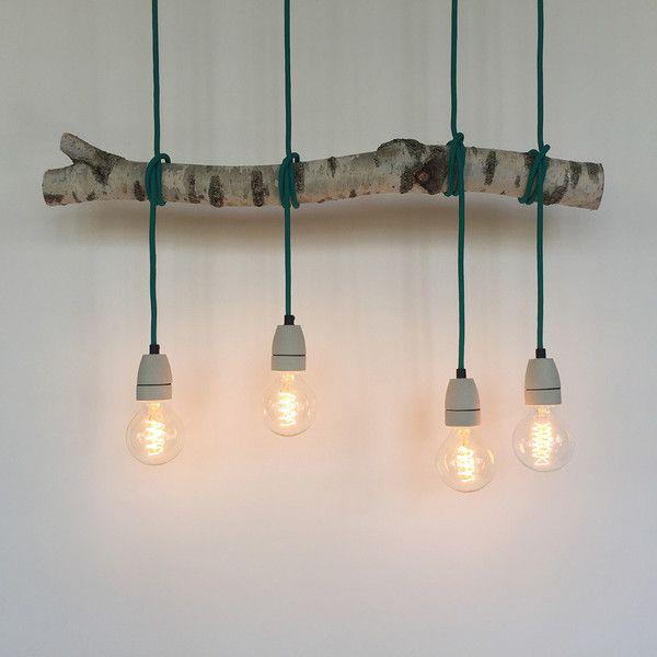 deckenlampen birkenzweig lampe mit t rkisen textilkabeln ein designerst ck von achteinhalb. Black Bedroom Furniture Sets. Home Design Ideas