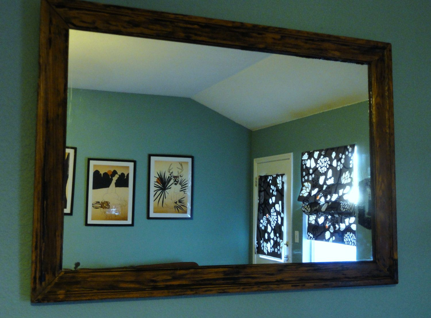 Large Framed Rustic Wood Wall Mirror Online Glass By Shoesrack I Am