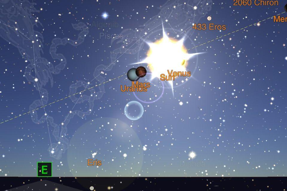 Mars begins to eclipse Uranus on March 20, 2013 at 9:17 AM