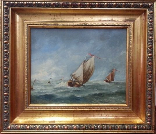 Vintage Signed Sailboat Ship Boat Stormy Seas Framed Impressionist