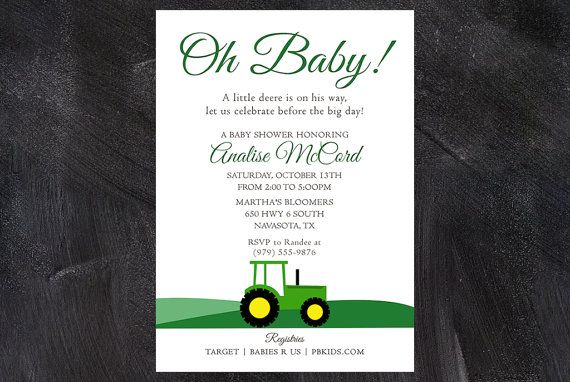 17 best images about baby shower ideas on pinterest | john deere, Baby shower invitations