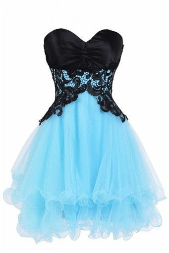 Adorable Handmade Tulle Short Blue Prom Dress With Lace Applique, Prom Dresses 2017, Homecoming Dresses