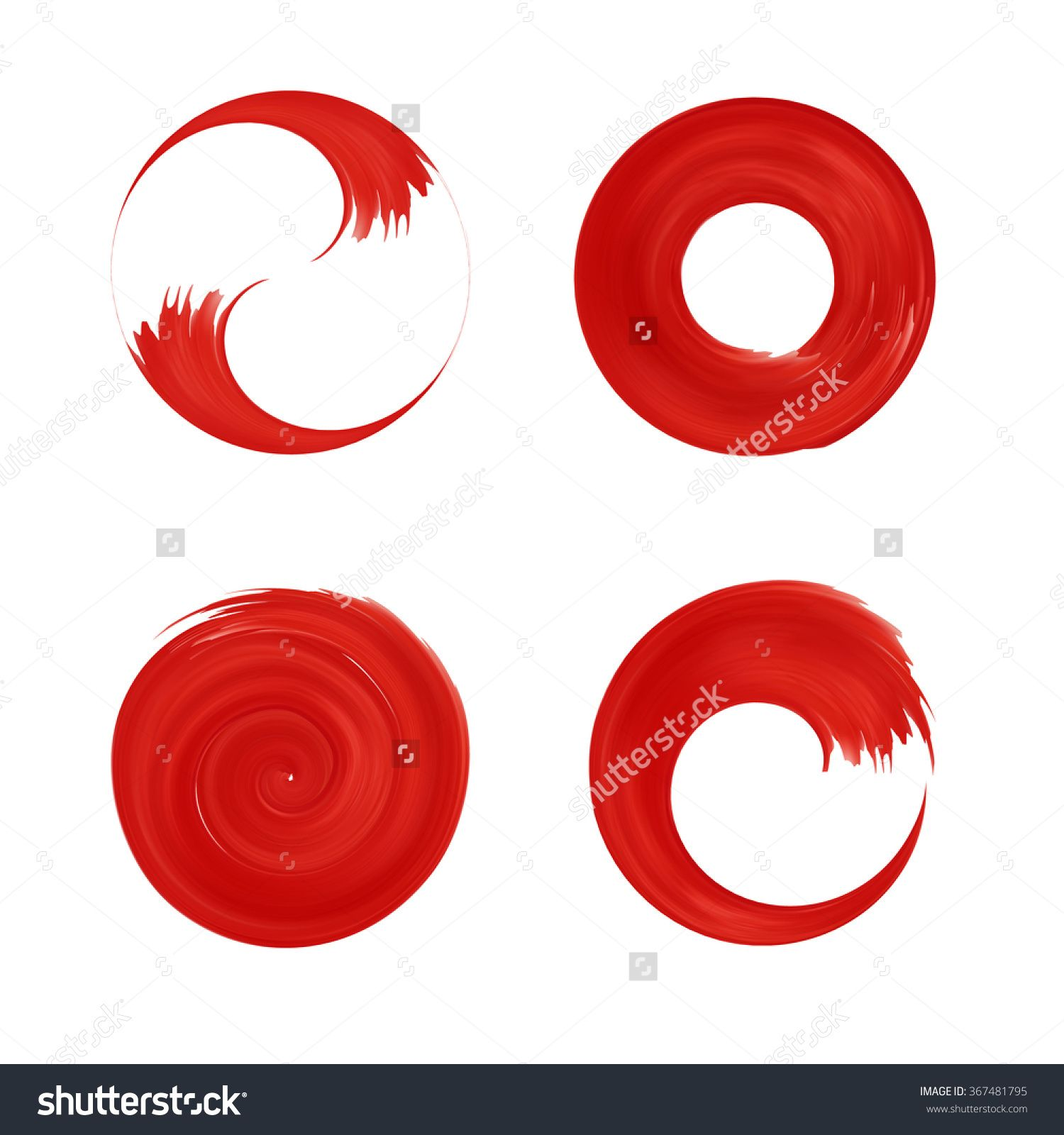 Set Of Red Round Element For Design. Japan Red Circle. Logo ...