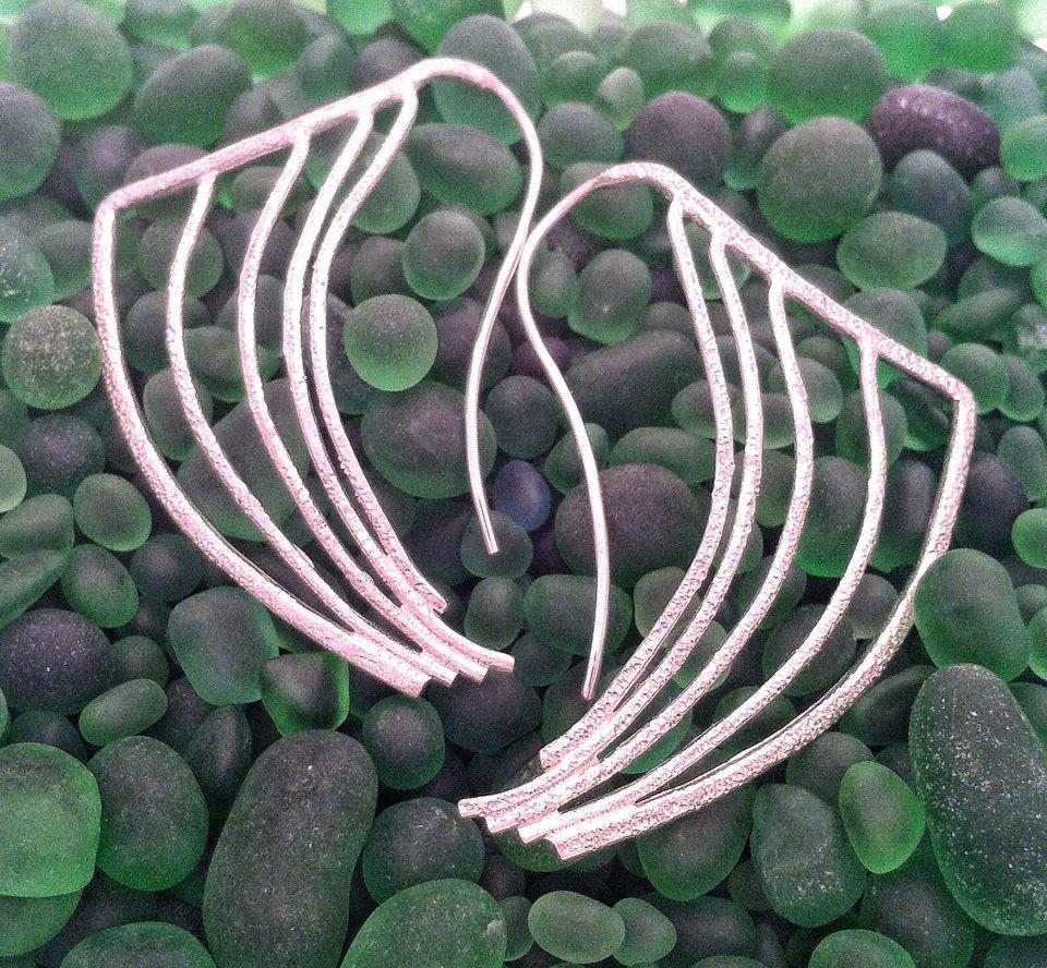Sterling silver wing earrings. Diamond texture Www.skylarkjewellery.com