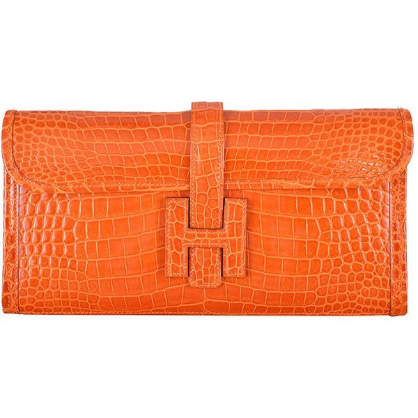 Preowned Hermes Jige Clutch 29cm Orange Porosus Crocodile Janefinds ($21,100) ❤ liked on Polyvore featuring bags, handbags, clutches, hermes, orange, crocodile handbags, croc embossed handbags, mini purses, hermes pochette and pre owned handbags