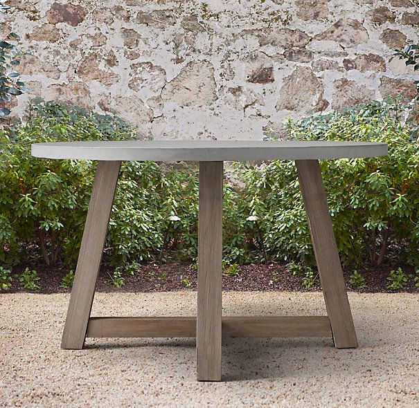 French Beam Weathered Concrete Teak Round Dining Table kate