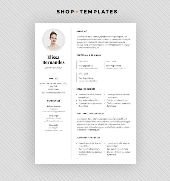 Resume Template / CV Template + Cover Letter for MS Word and
