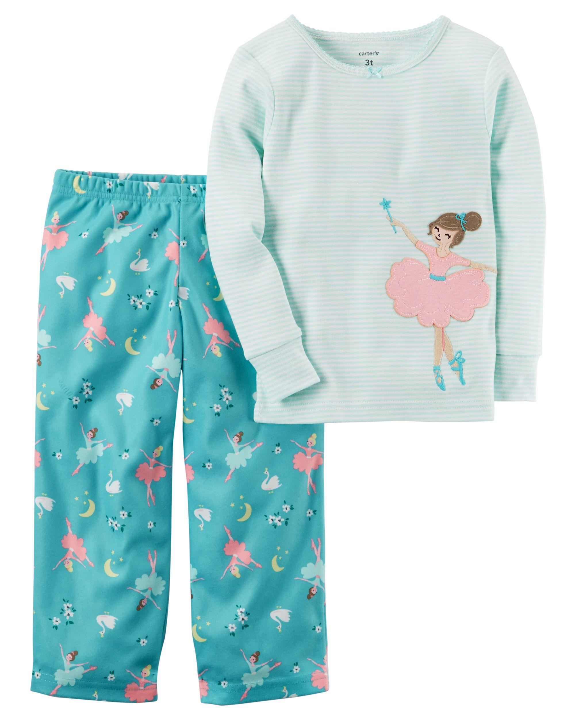 8c5edbd0c 2-Piece Ballerina Cotton   Fleece PJs