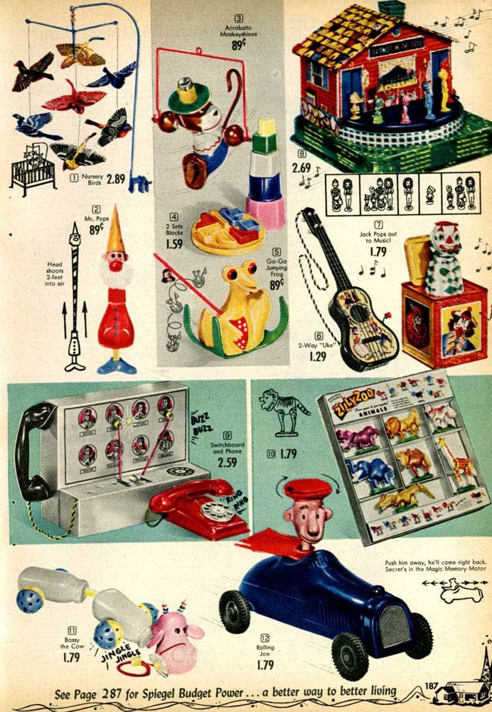 Bestselling Toy Brands On Amazon Com: Vintage Toddler Toys From A 1955 Spiegel Catalog
