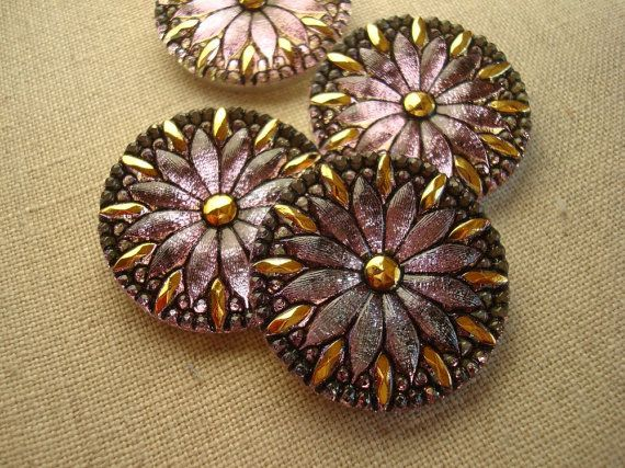 Czech glass button plum blue gold & black by SunnyButtons on Etsy, $8.50