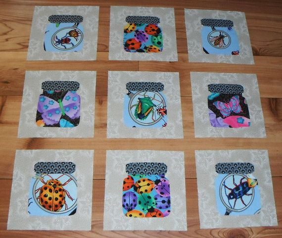Set of 9 Creepy Bugs in a Jar Quilt Blocks by MarsyesQuiltShop ... : bugs in a jar quilt pattern - Adamdwight.com