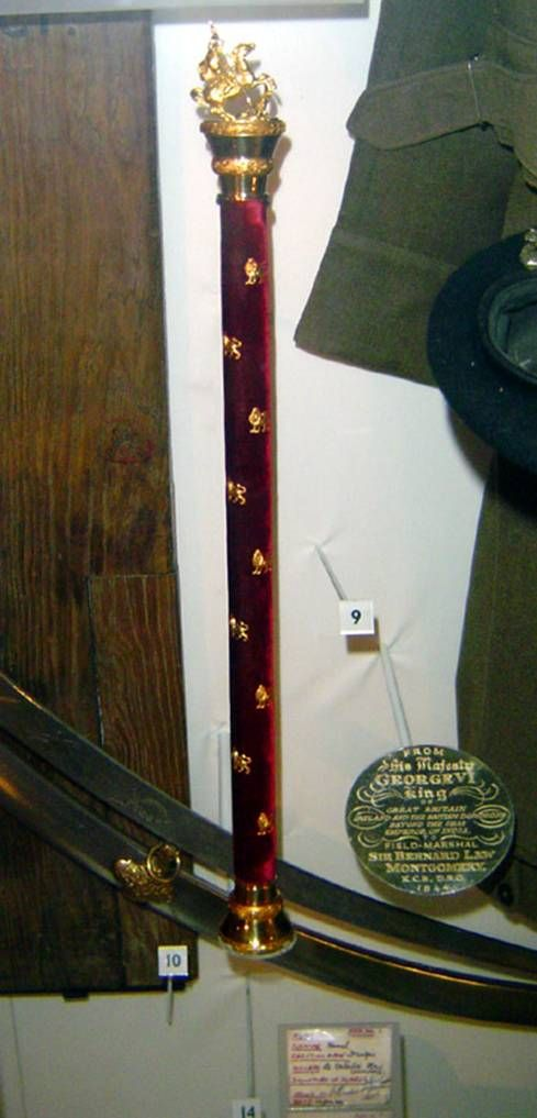 Montgomery's Marshal's baton.  This is a replacement as his original baton was stolen from his home during a burglary in the 1950's.