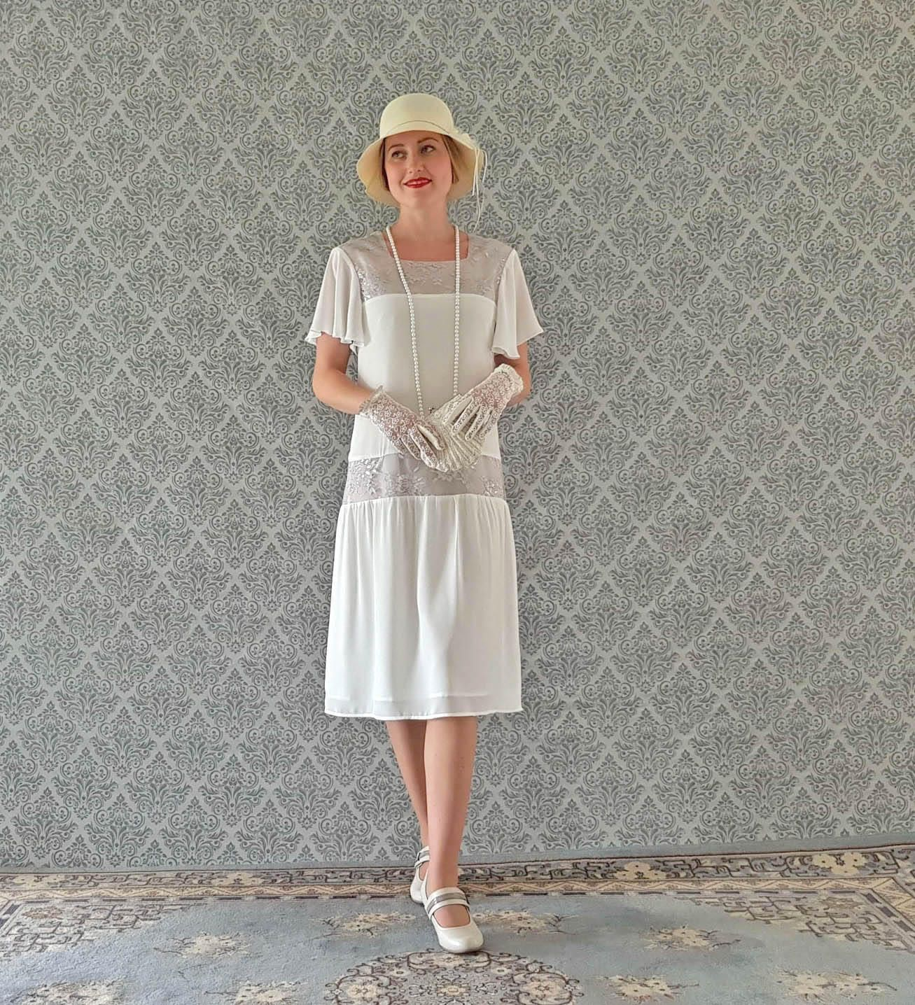 Off white Downton Abbey dress with flutter sleeves, white Great ...