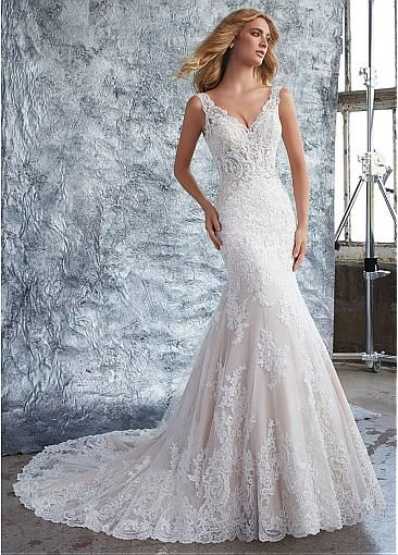 Chic Tulle & Organza V-neck Neckline Mermaid Wedding Dress With ...