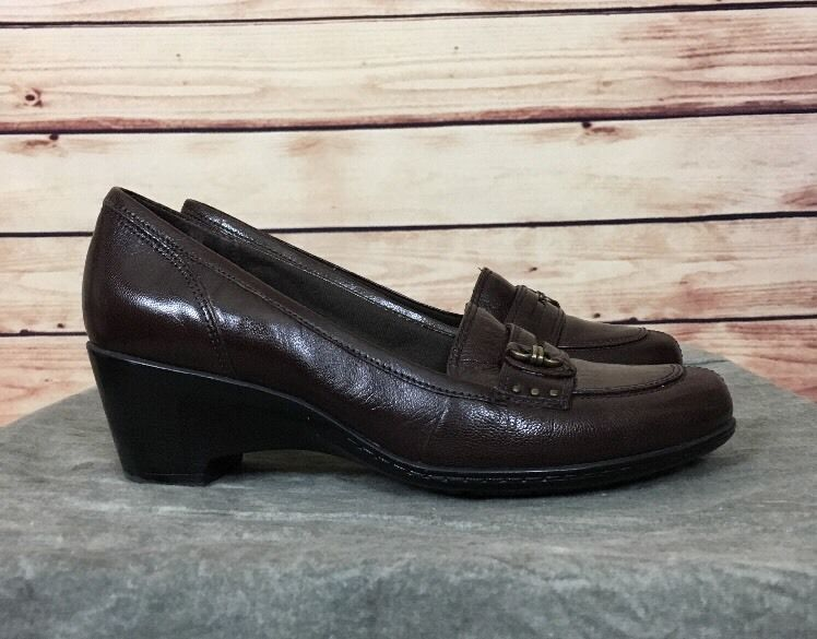 Clarks Bendables 80520 leather Loafers slip on Shoes Womens Size 6 M brown