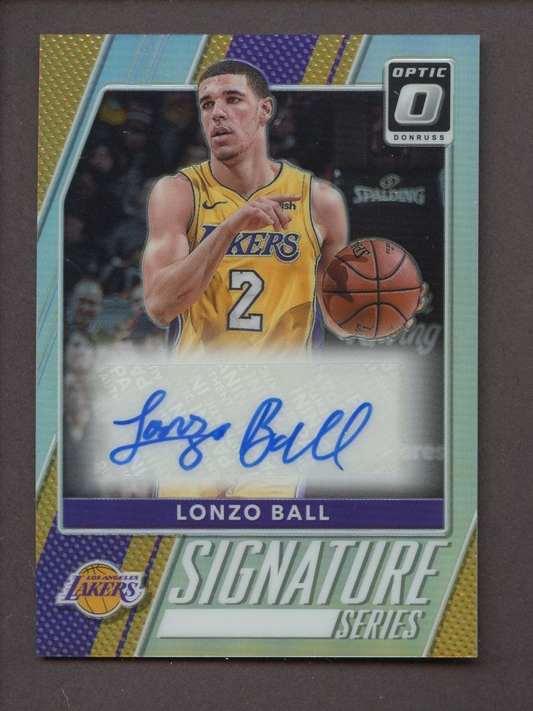 0105d6d6fd6 2017-18 Panini Optic Holo Lonzo Ball Lakers RC Rookie AUTO ...