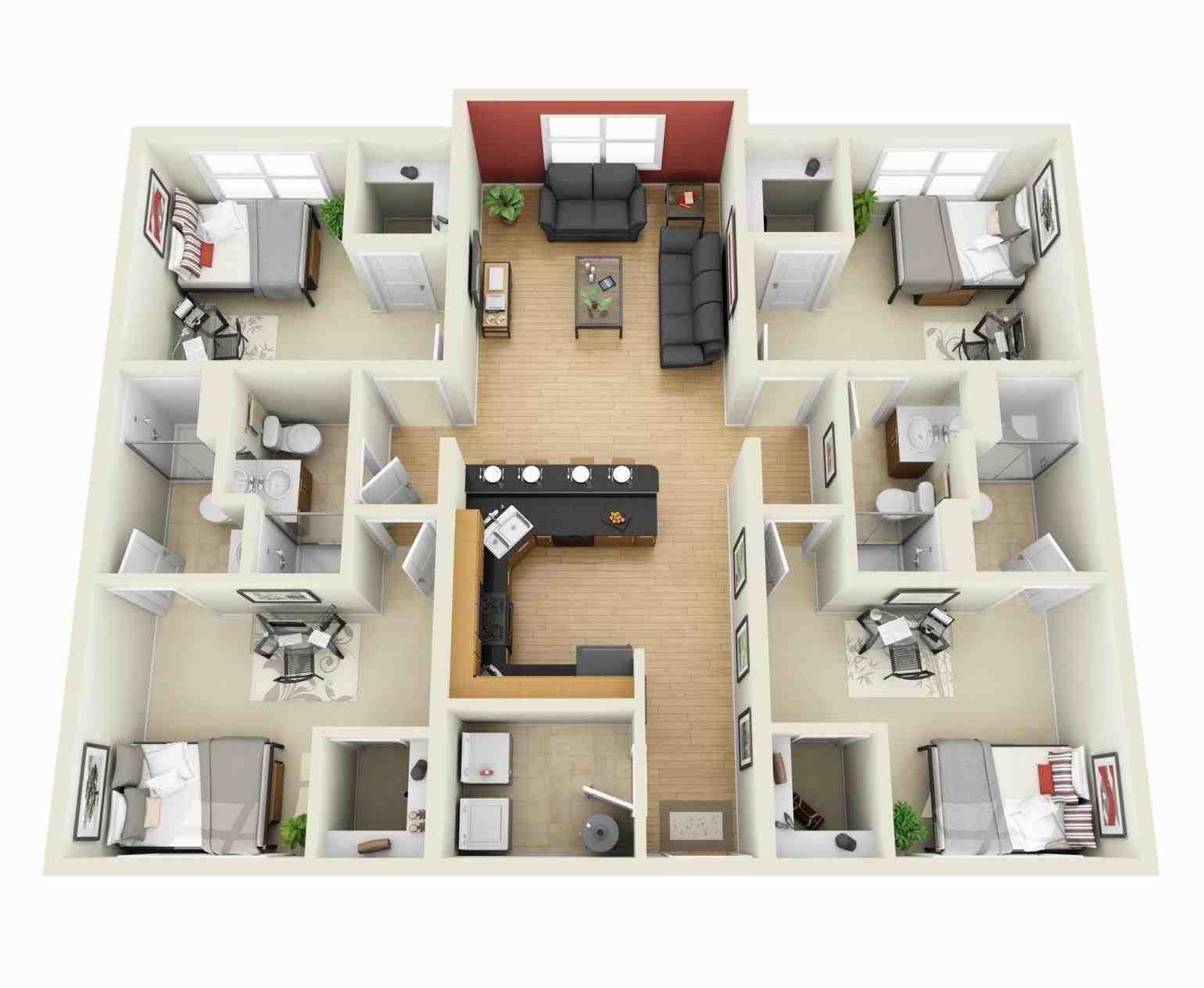 1 Bedroom Apartment Floor Plans 3d One Bedroom House Plans In 3d New Modern Apartments And Houses 3d Floor 4 Bedroom House Plans 3d House Plans House Plans
